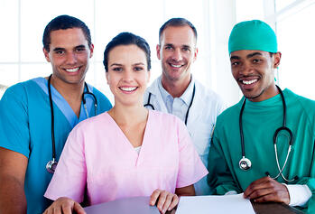 Portrait of a successful medical team at work in hospital-1